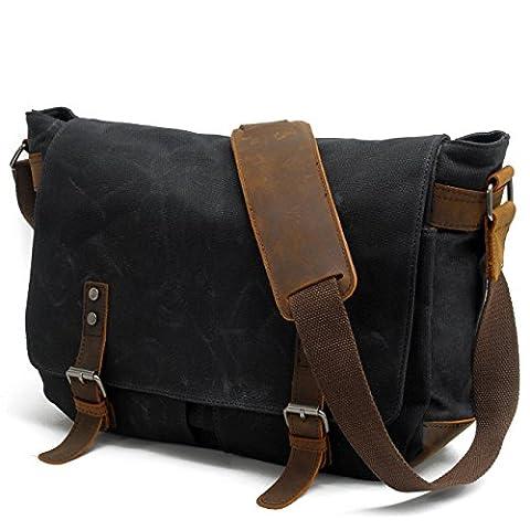 Y-DOUBLE Waterproof Canvas Unisex Vintage Canvas Genuine Leather Messenger Bag Travel Briefcase Crossbody Satchel Shoulder Bag Fits 14 inch Laptop