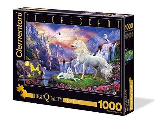 Clementoni 39285.8 - 1000 T Fluoreszierend Einhorn, Klassische Puzzle