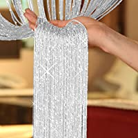 littlegrasseu Glitter String Curtains Panel Divider Window Door Fly Screen 100*200cm (grey)