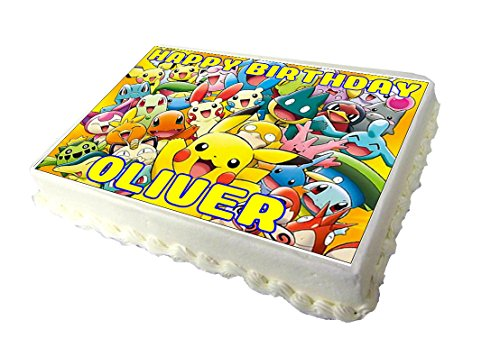 Price comparison product image Pikachu Pokemon Edible A4 Birthday Cake Topper