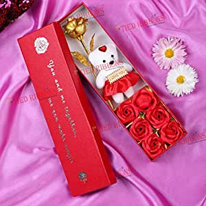 TIED RIBBONS Valentine Gift for Wife Girlfriend - Valentines Artificial Rose with Teddy Gift Set