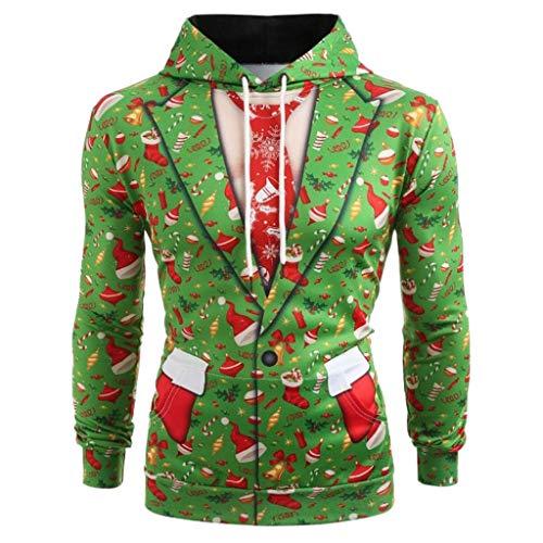 friendGG❤️❤️ Herren Kapuzenpullover Langarm Hoodies Weihnachtspullover Casual Pullover Winter Sweatshirt,Herren 3D Gedruckter Weihnachtspullover Langarm mit Kapuze Sweatshirt Tops Bluse - Escada Top