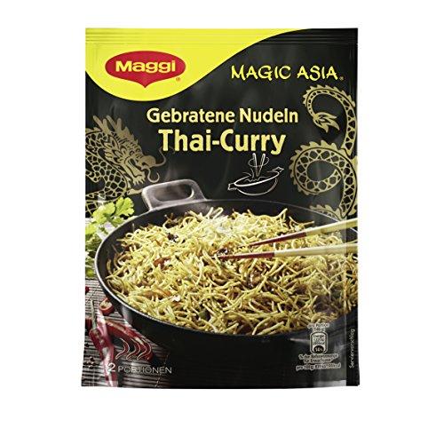 Maggi Magic Asiagebratene Nudeln Thai Curry (asiatisches Fertiggericht, Instant-Nudeln, mit Gemüse und cremiger Kokosmilch, scharfgewürzt) 1er Pack (1 x 130g)