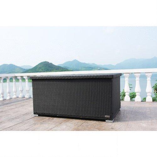 OUTFLEXX Kissenbox aus Polyrattan 144x92x70cm in schwarz