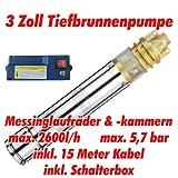 AT- 3 Brunnenpumpe 750W-1 mit 15 m Kabel Edelstahl-Tiefbrunnenpumpe mit Messing-Laufrädern und max: 5,7 bar, 3000l/h bei 7 m