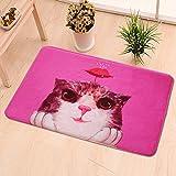 YUGUO Tapis Flower Cat Red Cartoon Printing Carpet Cute Umbrella Cat Kids Game Mat Living Room Rug Bedroom Entrance Door Pad