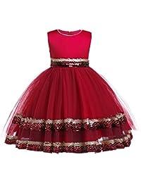 XFentech Vestido de la Princesa del Salón de Baile de los Niñas - Vestido de Tul Mullido con Lentejuelas de Moda para la Boda Fiesta de…