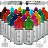 20 stücke 30 ml Weiche PET Einhorn Tropfflasche Flüssige Refill Flasche Flüssigkeit Applikator Flasche (30ml x 20pcs, Weiße Flasche + Farbkappe)