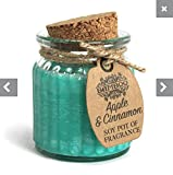 Bamboo 2X 100% Sojawachs Kerze im Glas mit Korkdeckel - Vegan / 100% Natürlich (Lavendel) … (Apfel Zimt)