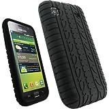 igadgitz Negro Case Neumático Tyre Silicona Funda Cover Carcasa para Samsung i9000 Galaxy S + Pantalla Protector