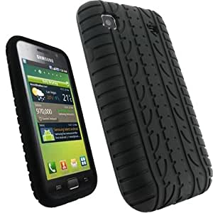 iGadgitz Black Silicone Skin Case Cover with Tyre Tread Design for Samsung Galaxy S i9000 Android Smartphone Mobile Phone + Screen Protector