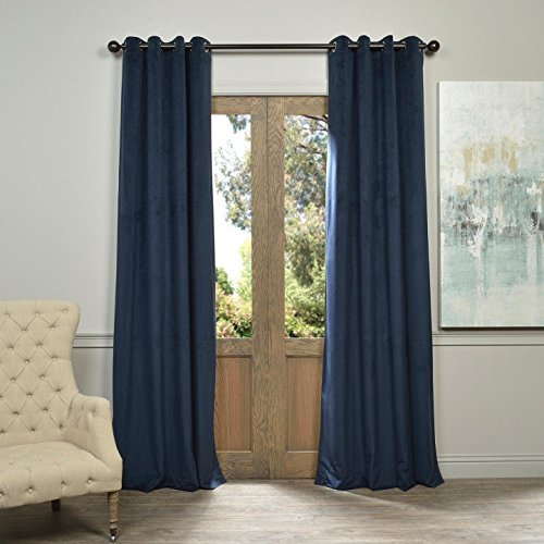 Half Price Drapes VPCH-194023-108-GRBO Signature Grommet Blackout Velvet Curtain, Midnight Blue by Half Price Drapes - Midnight Blue Velvet