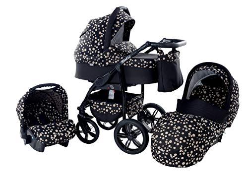 Kinderwagen Babywagen Kombikinderwagen TriBeCe Wind 3 in 1 Komplettset mit Zubehör 0-3 Jahre 0-15 kg Insektenschutz Netz Einkaufstasche Regenschutz Getränkehalter Buggy Autositz