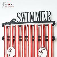 Sport Contour Swimmer Medalla Muestra Doble Percha Negro