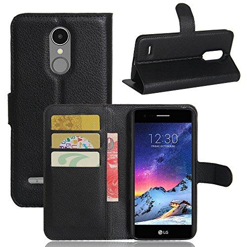 Custodia LG K8 2017 - MYLB Portafoglio in pelle PREMIUM PU con Card Slot di caso di stile del libro Cover per LG K8 2017 smartphone (Nero)