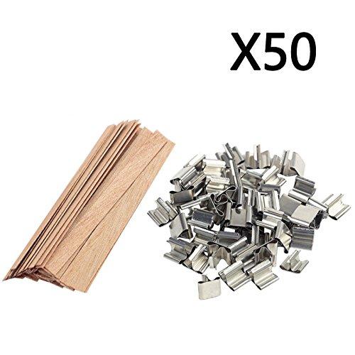 Kerzendocht-Set, Holzdocht mit Eisenständer, zur Kerzenherstellung, 50 Stück, 15*1.25cm -