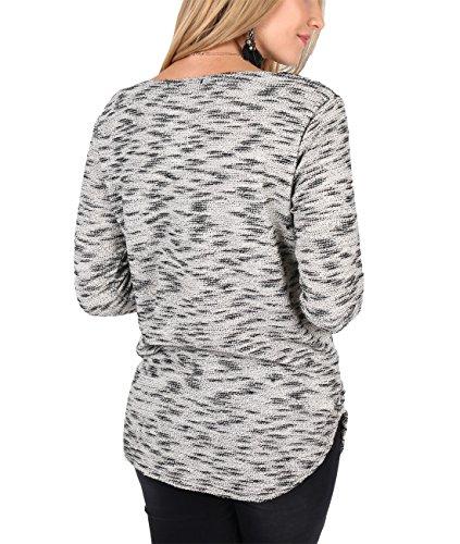 KRISP® Damen Strickpulli Oversize Pullover Asymmetrisch Sandstein (5661)
