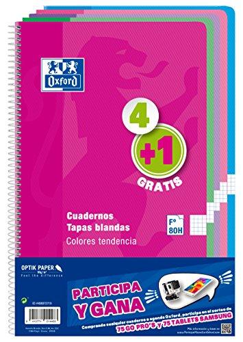 Oxford 400072719 - Cuadernos espiralados, varios colores, paquete de 5 unidades