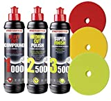 Menzerna Polituren 1000 Heavy Cut + 2500 Medium Cut + 3500 Super Finish + 3 Menzerna Polierpads Politur-Set Auto Polier SET