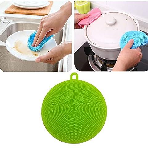 Katech 2 pièces en silicone de brosse de lavage multifonction de cuisine Légumes et fruits éponge de nettoyage résistant à la chaleur Mat Pad plaque Plat ou pot Outil de nettoyage