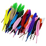 #8: SMARTBUYER-Pack of 50 Dyed Goose Feather Jewelry Decor Headgear DIY Crafts 3-6inch - Multi