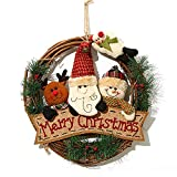 XONOR Corona di Natale per Porta d'ingresso, ghirlande Porta 35cm Natale Decorazione della Porta della casa Porta d'auto (Reindeer Snowman Santa Claus)