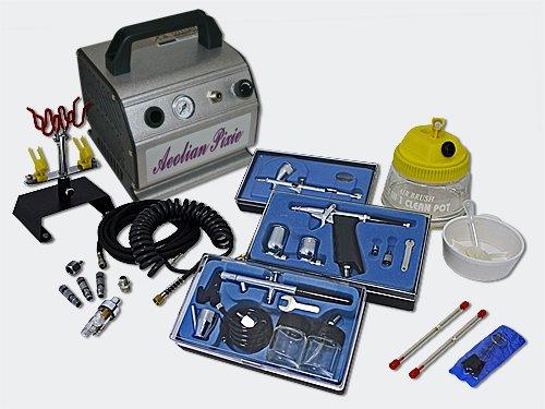 Set professionale as176 compressore con 3 pistole a spruzzo e gamma completa di accessori