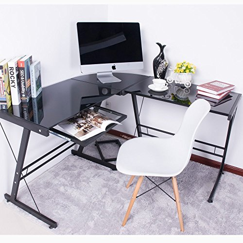 LIFE CARVER BTM Large Corner Computer Tempered Glass Desk PC Table Corner L-Shape Home Office Computer Desk with Keyboard Shelf