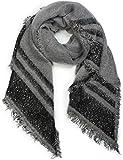 styleBREAKER Damen XXL Schal mit Streifen, Pailletten und Fransen, Winter Strickschal, Stola 01017096, Farbe:Grau