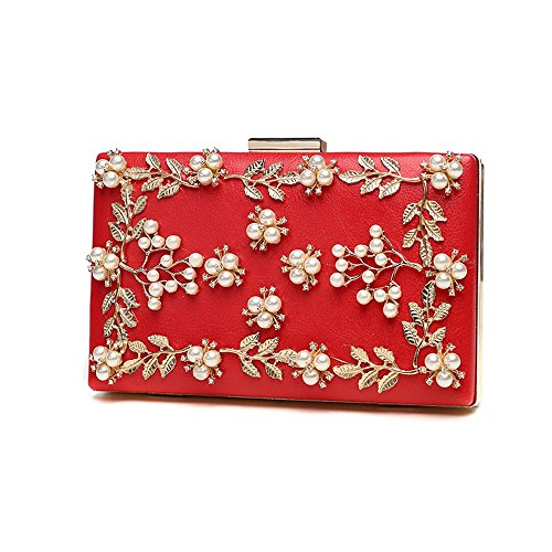 Perle Handtasche, Damen Handtasche, Mode Bankett koreanische Version des Diamanten Kleid Damen Abendtasche ( Farbe : Rot ) Rot