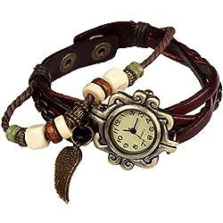 Bohemian-Stil [wasserfest] Retro handgefertigt Leder [Angel Wing Anhänger Armbanduhr] Modisches Luxus, & Stilvolle Weave, [Armbanduhr Armband] für Frauen Damen Mädchen. [kratzfest]-braun