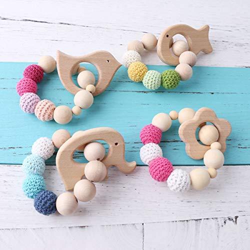 baby tete 4 stück Zahnen Holz Armbänder Baby Zahnen Zubehör Bio Rassel Baby Pflege Spielen Gym Kinderwagen Spielzeug Kinderwagen