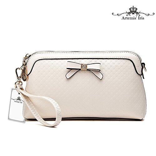 Donne Artemis'Iris 2-in-1 Funzione spalla Pochette Portafoglio di lusso in pelle borsa Carte Organier Zipper Bow Ladys borsa lunga, rosso white