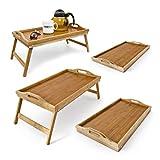 4er Set Betttablett Bambus, Frühstückstablett mit klappbaren Beinen, Serviertablett, natur, H x B x T: ca. 21,5 x 47 x 27cm
