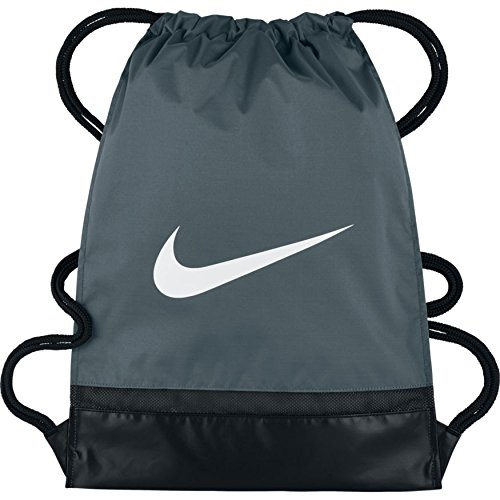 Nike Brasilia Turnbeutel, Flint Grey/Black/White, 48 x 38 cm