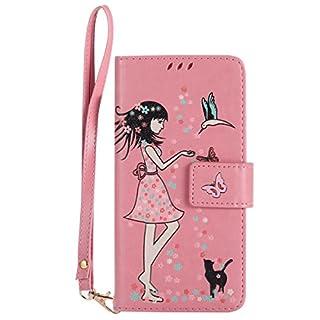 Gelusuk Sony Xperia Z5 Hülle,Leuchtende Luminous Muster Design PU Leder Flip Card Holder Cover Ständer Wallet Case,Bookstyle Folio Ledertasche Brieftasche Tasche Case Schutzhülle Etui-Rosa