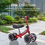 Bicicleta Sin Pedales Bicicleta de Equilibrio Asiento Ajustable y Manillares Tapizados para Bebé de 1-2 Años para Walking Balance Entrenamiento (Rojo)