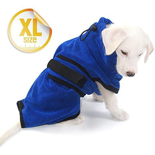 Escomdp Schnelles Trocknen Hund Katze Bademantel Schwere Mikrofaser Soft Pet Badetuch - XS, S, M, L, XL (XL-back length: 68CM)
