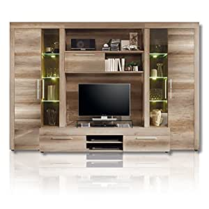 roller roller wohnwand boom kompakt led beleuchtung eiche braun k che haushalt. Black Bedroom Furniture Sets. Home Design Ideas