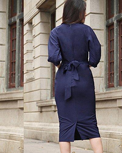 Femmes Robe Bodycon Manche Longue Robe de Party Cocktail Crayons de Robe Bleu Saphir