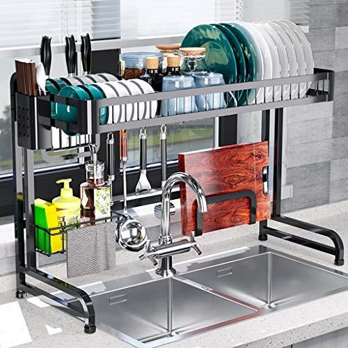 Abtropfgestell,Küchenregal Spüle Regal Abtropfschale Halter Geschirr Aufbewahrung Besteckhalter Abtropfgitter Edelstahl Schwarz (Size : 84 * 58 * 32cm) (Spülbecken-geschirr-halter)