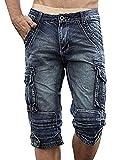 Idopy Herren Cargo-Denim Biker Jeans-Shorts mit Reißverschluss (W34, blau)