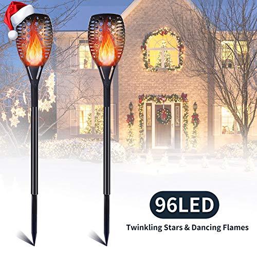 Garten Fackeln, 2 Stück Solar Fackel Solarleuchte Garten Lampen 96 LEDs für Weihnachten Wasserdicht IP65 Solar Garten Beleuchtung Garten Licht Automatische EIN/Aus