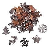 Weihnachten Deko Winter Holz Deko (100 Stk) Streudeko Weihnachten aus Birkenholz Deko WInter Formen - winterliche Schneeflocken, Rentier, Sterne&Weihnachtsbaum - Weihnachtsschmuck, Scrap Booking
