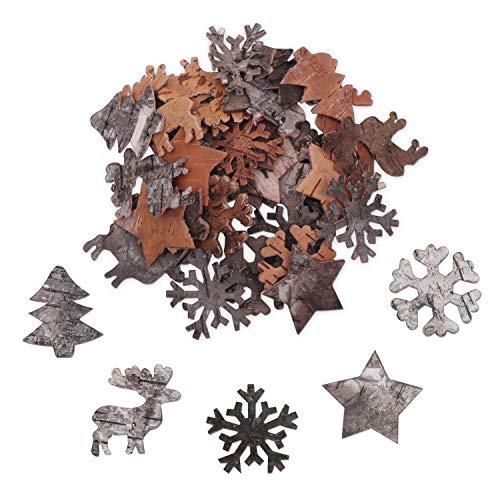 Decorazioni natalizie in legno (100pz) addobbi natalizi in legno di betulla - oggetti in legno natalizi: fiocchi di neve, renne, stella ed albero - decorazioni albero di natale, casa, arte e fai da te