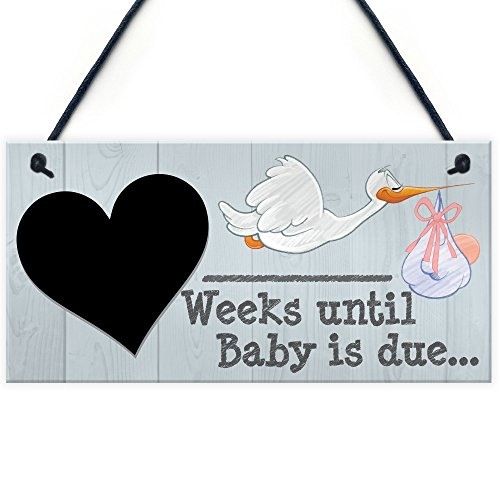 Red Ocean Weeks Until Baby Is Due Chalkboard Hanging Plaque Baby Shower Pregnancy Gift
