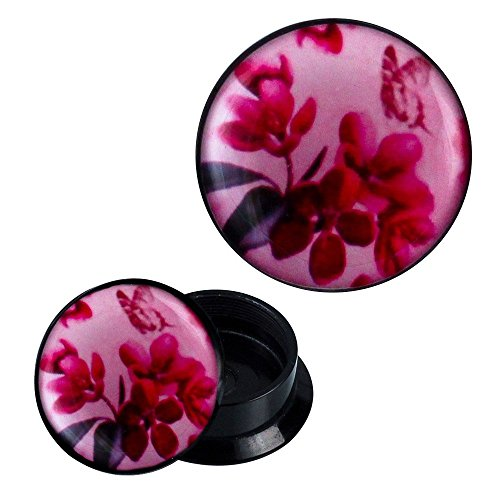 Schraub Plug Acryl Blumen Schmetterling Blätter rosa pink Ohrschmuck Piercing 06 mm