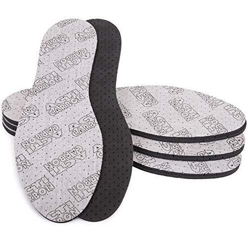 SULPO 4 Paare Einlegesohlen gegen Schweißfüße Acti Carbon Einlagen mit Aktivkohle für Damen und Herren Schuheinlagen anit Schweiß fuer Arbeitsschuhe und Gummistiefel/Größe 36-46 (42)
