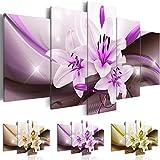 Quadro 200x100 cm ! Tre colori da scegliere - 5 Parti - Grande formato - Quadro su tela fliselina - Stampa in qualita fotografica -- Fiore Giglio Astrazione b-A-0251-b-o 200x100 cm B&D XXL