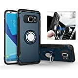 Galaxy S7 / S7 Edge case, Rexang [360 ° Kickstand] Rotating Ring Case [Dual Shockproof] Protection Cover [Magnetic Car Mount] for Samsung (S7, Navy)